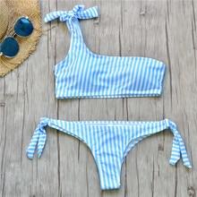 Women Swimwear Striped Bikinis Set One Shoulder Bandage Push Up Paded Two Pieces Swimsuit Bathing Suit Swim