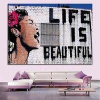 1 Piece Unframed Banksy Art Life Is Beautiful Canvas Art Living Room Wall Decor Modern Room