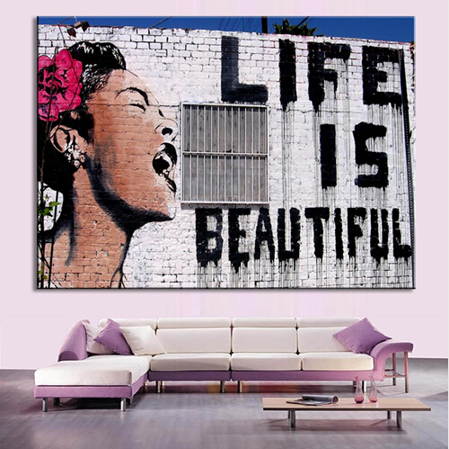 Buy 1 Piece unframed Banksy Art Life Is Beautiful canvas art living room wall decor Modern room decor printed canvas paintings for $5.11 in AliExpress store