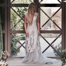 Винтажное кружевное свадебное платье Boho robe de mariee gelinlik, Пляжное кружевное свадебное платье es размера плюс, vestido de noiva de renda