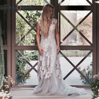 Beach Boho Wedding Dress Sleeves Vintage Plus Size Lace Bridal Gowns Summer Style Lebanon Custom 2015