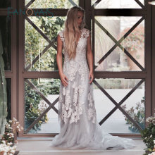 Vintage Lace Boho Wedding Dress robe de mariage Cap Sleeves Lace Wedding Dresses 2017 Plus Size vestido de noiva de renda