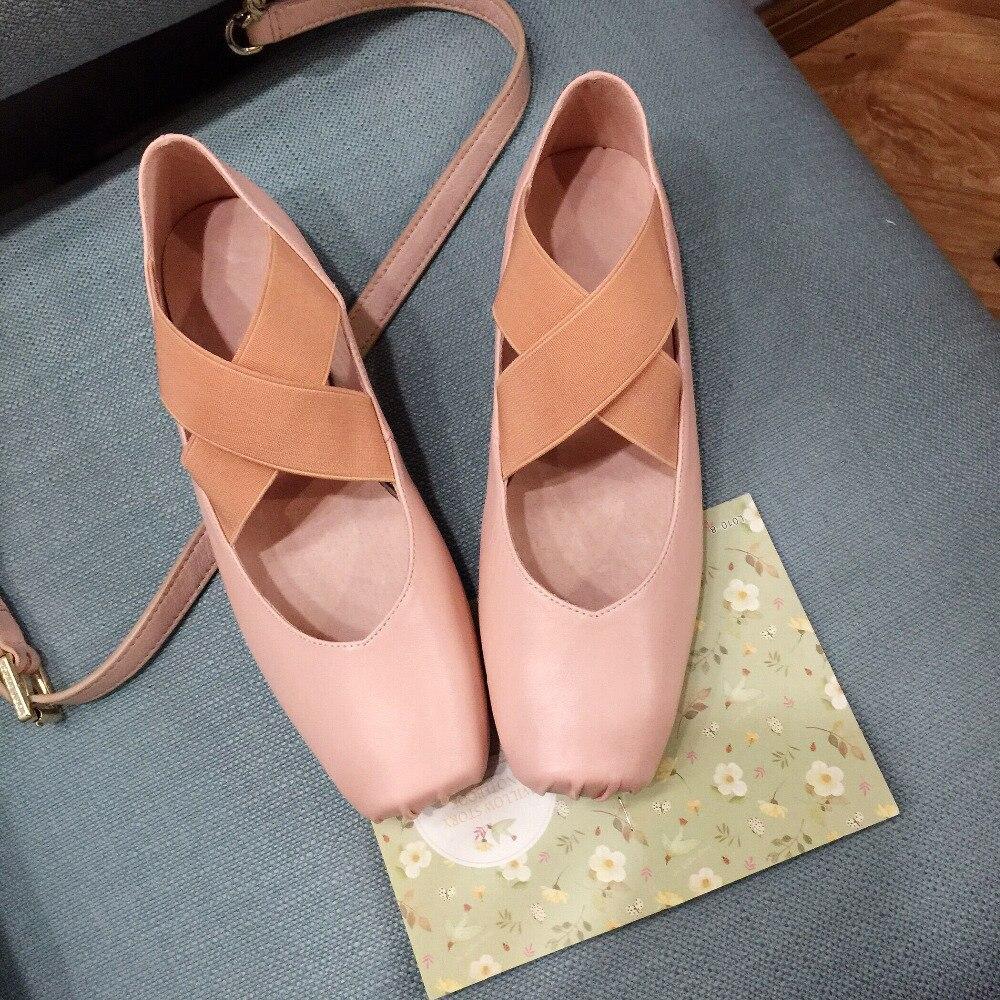 Zapatillas de Ballet de Cuero Genuino Dedo Del Pie Cuadrado de las mujeres Marca Diseñador Banda