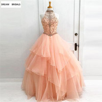 Actual Image Ball Gown Fromal Evening Dresses With Beading Crystal Pearls Robe De Soiree 2018 Long Dresses Evening