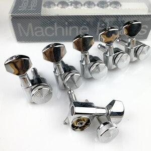 Image 2 - Sintonizadores de bloqueio de violão, cromado, novo afinador de cabeças para máquina de guitarra elétrica, JN 07SP trava de prata, pegos de ajuste (com embalagem)