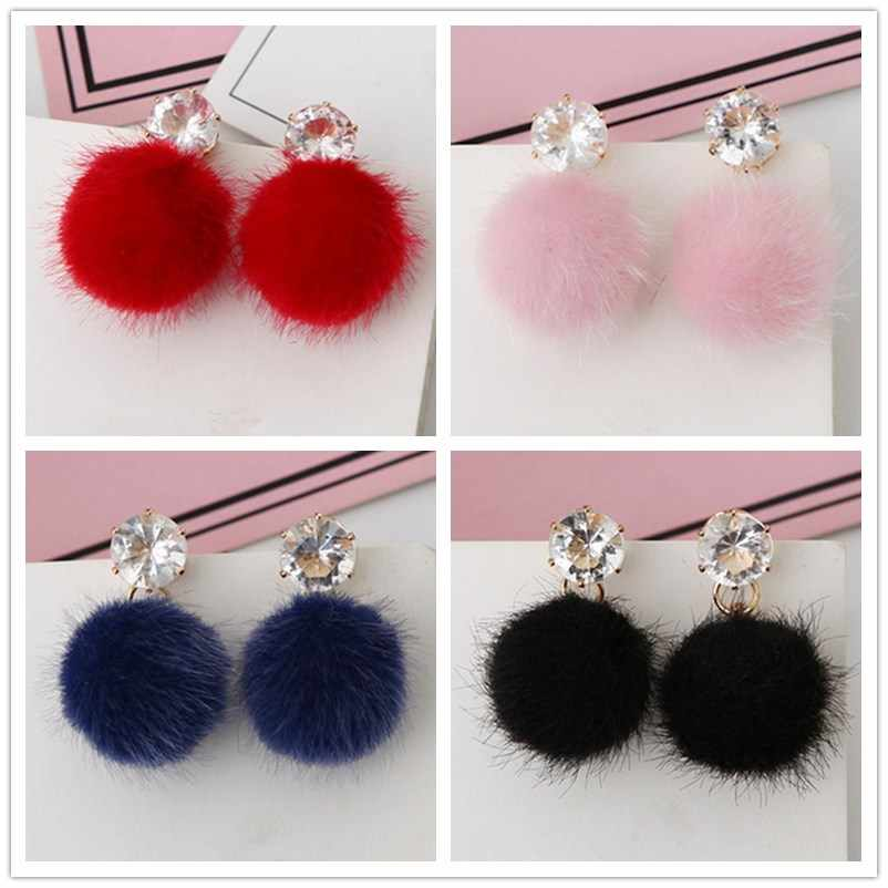 Promotion Temperament Short Drop Earrings for Women Personalized Wild Simple Hair Ball Female Models Earrings