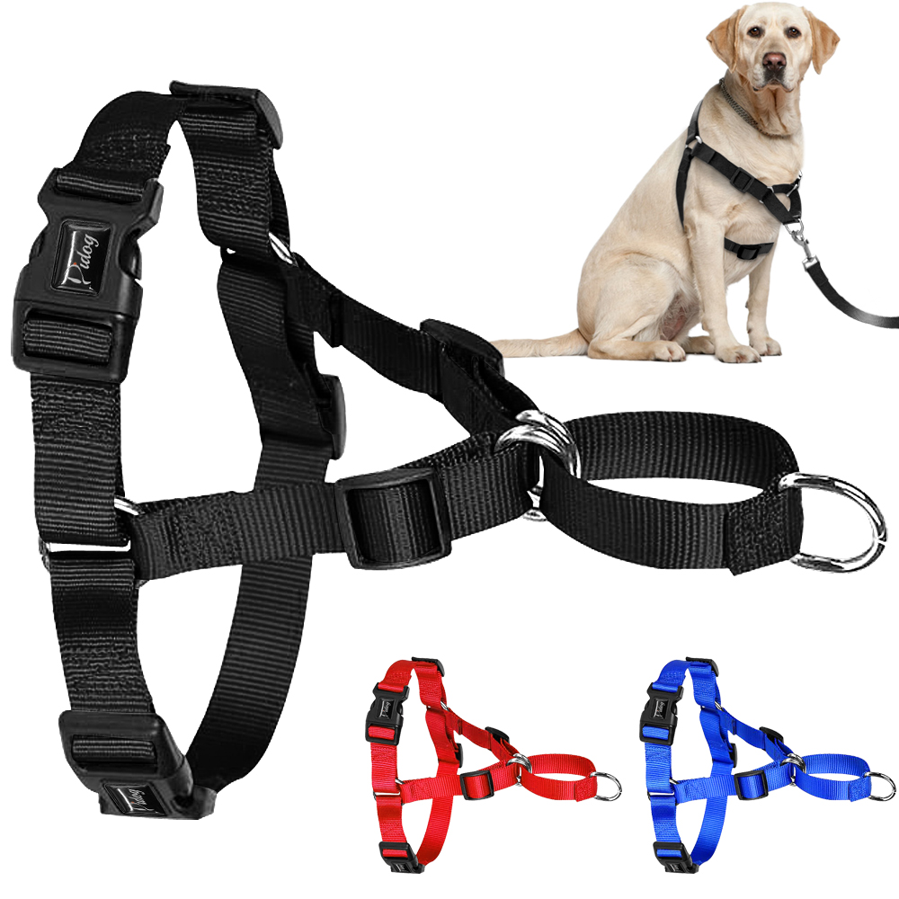 No Pull Nylon Dog Harness Justerbare Pet Dog Harnesses Vest Til Mellemstore Store Hunde Pitbull Bulldog German Shepherd S-XL Black