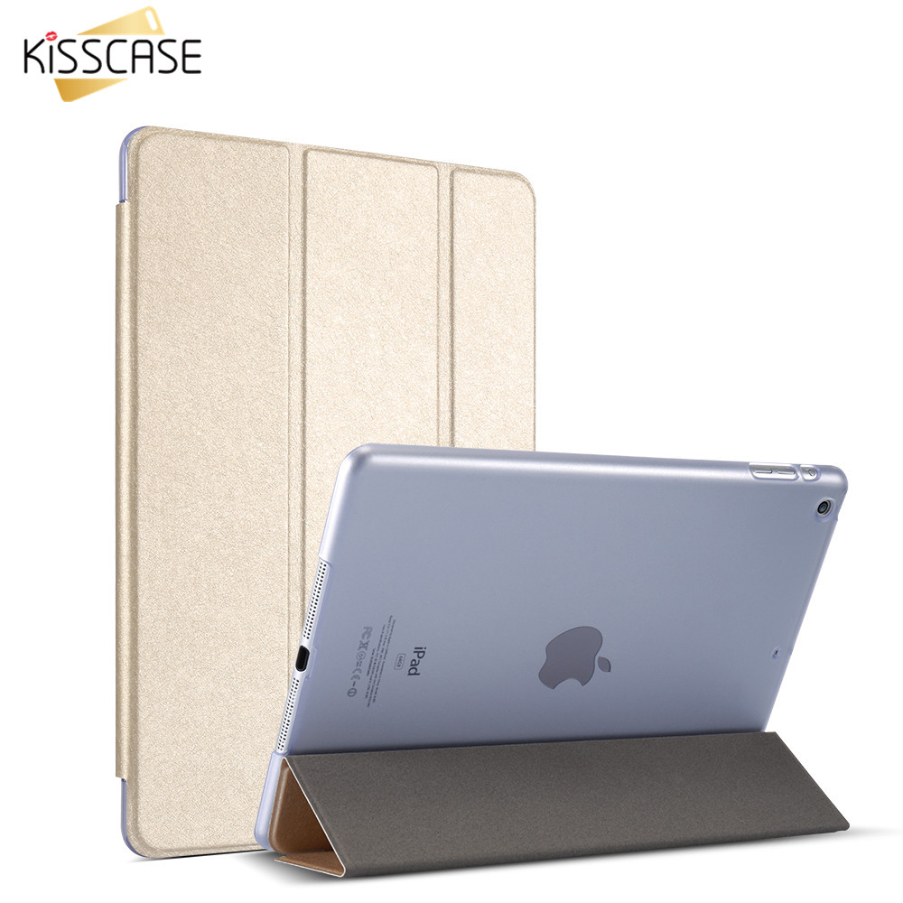 KISSCASE Foldable Stand Leather Case For iPad 2 3 4 Luxury Flip Case Cover For iPad