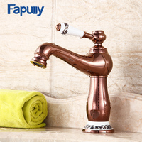Fapully Rose Gold Bathroom Basin Faucets Porcelain Single Handle Holder Chrome Bathroom Basin Sink Faucet Brass Mixer Tap 555