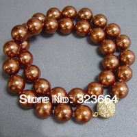Pretty Chocolate Brown Shell Pearl GP Clasp Necklace