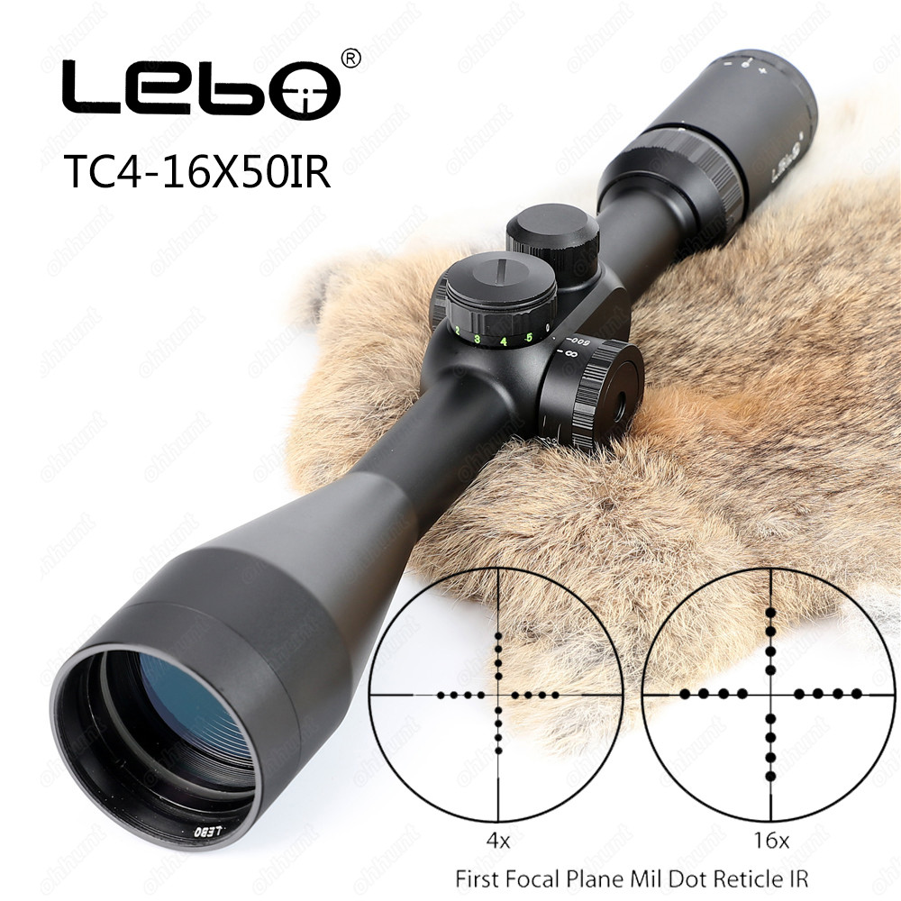 Tactical LEBO TC 4-16X50 IR First Focal Plane Riflescope Side Parallax Mil-dot Glass Etched Reticle Rifle Hunting Shooting Scope joufou 4 16x40aol tactical rifle scope optical sights full size mil dot rgb llluminate wire reticle hunting riflescope for rifle