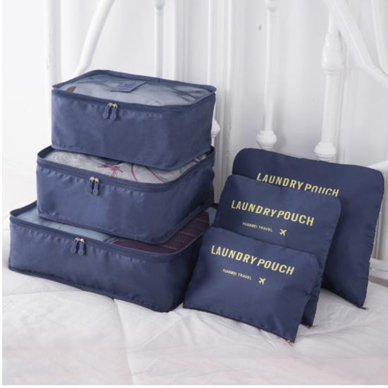 Iux nylon packing Cube Travel bag sistema durable 6 unidades set gran capacidad de Bolsas unisex ropa clasificación organizar al por mayor
