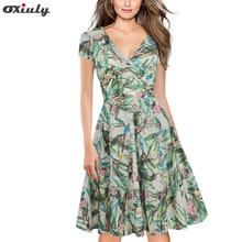 Oxiuly Women Green Leaf Floral Print Ruffle V Neck Dress Short Sleeve Knee Length Dresses Lady Wear Casual A-Line Vestidos