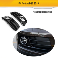SQ5 Style Car Chrome Trim Full Rings Front Bumper Black ABS Lower Side Fog Light Grill