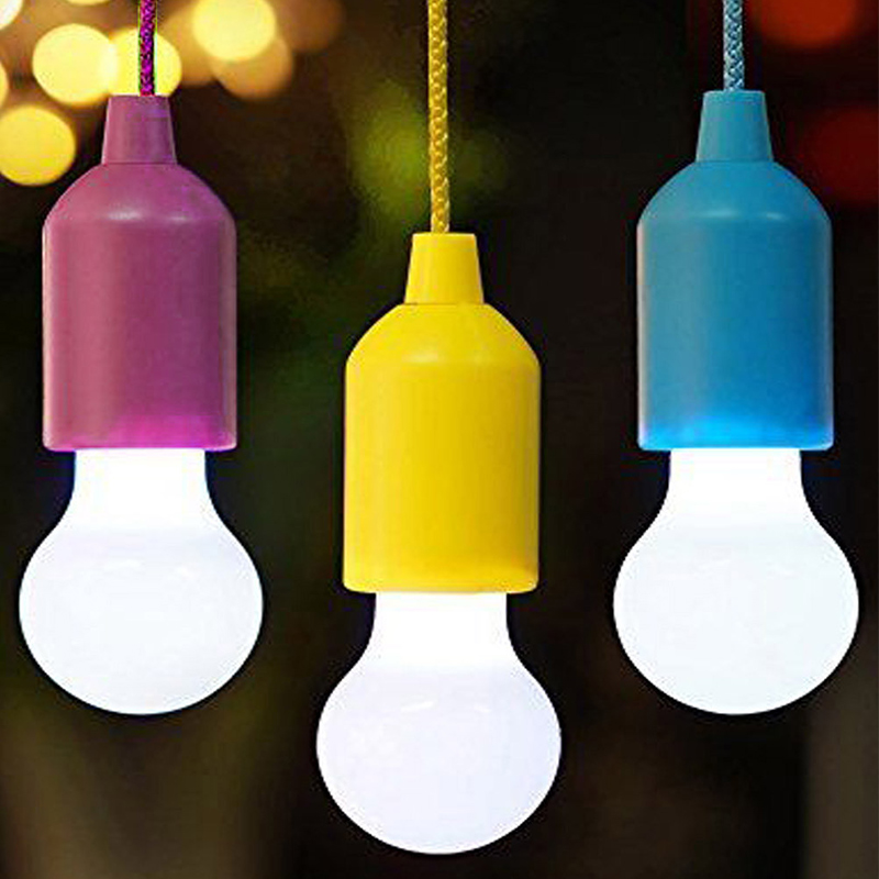 Outdoor Portable Pull Bulb Light LED Lamp Camping Lantern Battery Powered Colorful LED Bulb Hanging Lamp White Lighting A