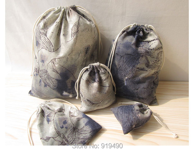 Aliexpress.com : Buy Linen Drawstring Bag Chinese Ink Painting ...
