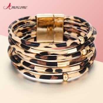 Amorcome Leopard Leather Bracelets & Bangles Elegant Multilayer Wide Wrap Bracelet Jewelry