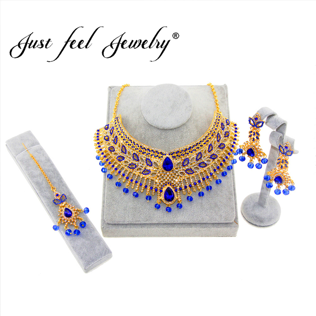 JUST FEEL 2018 Luxury Indian Gold Color Jewelry Sets Necklace Earrings Headdress