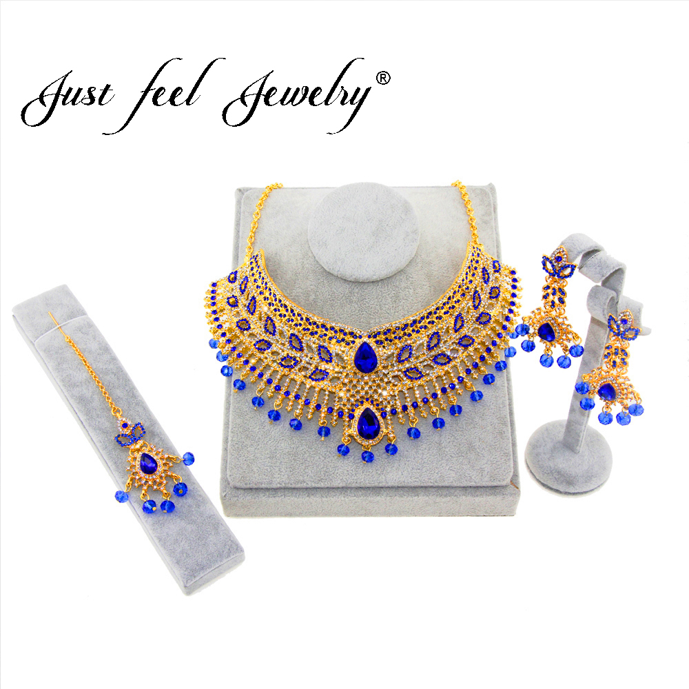 JUST FEEL 2018 Luxury Indian Gold Color Jewelry Sets Necklace Earrings Headdress 3pcs Bridal Kundan Jewelery for Women Gifts