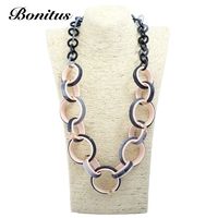 [Bonitus Jewelry Store]2017NewArrival Fashion Statement Vintage Necklaces High Polished Lucite Plastic For Women Neck HOT06N3090