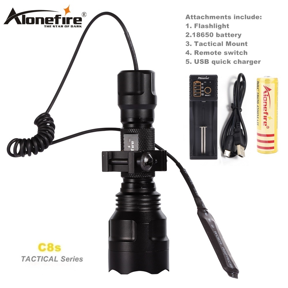 Alonefire Hunting Light Battery Shotguns Led-Torch Tactical-Flashlight Rifle-Scope Airsoft