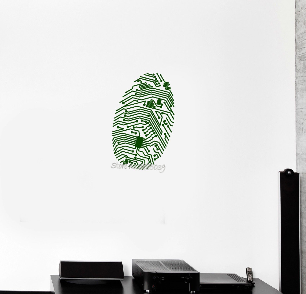 Fingerprint Chip Computer Vinyl Wall Decal Geek Security IT Wall Sticker Office Art Wall Tattoo Mural Interior Design Wall LA584