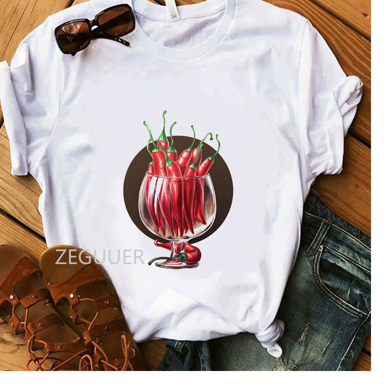 Pepper Lover Casual T-shirt Lady A Cup Of Red Pepper Illustration White Student T-Shirt Women Vogue Summer Tees Cotton Soft Tops