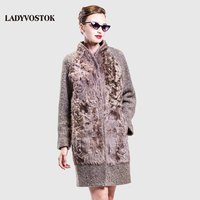 LADYVOSTOK Autumn Winter Long Collar Woman Coat Cashmere Coat Wool Real Hair Fashion Splicing Snap Fastener