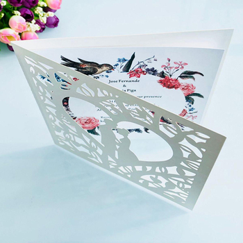 50pcs Blue White Gold Red Hollow Heart Laser Cut Marriage Wedding Invitations Card Greeting Card Print Postcard Party Supplies 1