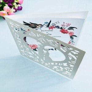 Image 2 - Cartão de visita de casamento 50 peças, azul branco vermelho oco coração corte a laser convites de casamento impressão cartão postal suprimentos da festa