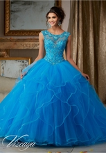 Sexy 2016 Blue Champagne Quinceanera Dresses With Beaded Ruffles Sweet 16 Dress Vestidos De 15 Anos QR72