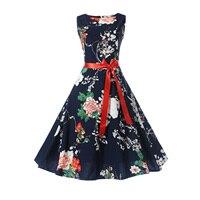 Fenghua Summer Autumn Dresses Women 2017 Vintage Audrey Hepburn Ball Gown Party Dresses Elegant Floral Print