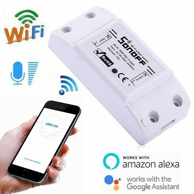 10 pcs sonoff 기본 무선 wifi 스위치 스마트 홈 자동화 릴레이 모듈 원격 컨트롤러 10a 90 250 v ios 안 드 로이드에 대 한