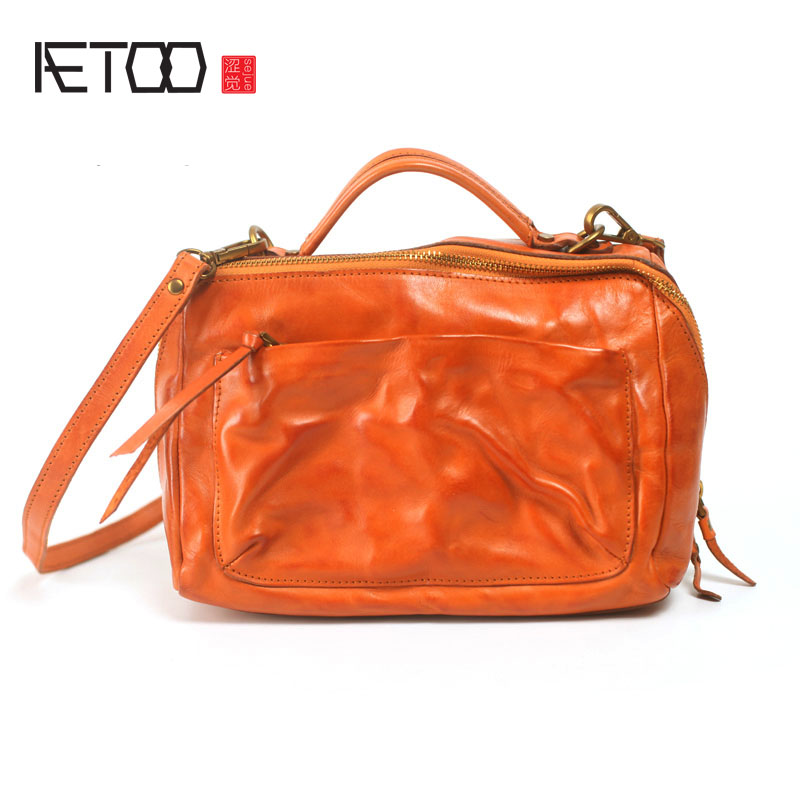 AETOO 2017 new handbag shoulder diagonal cross small square bag retro art machine personality car hand first layer cowhide handb