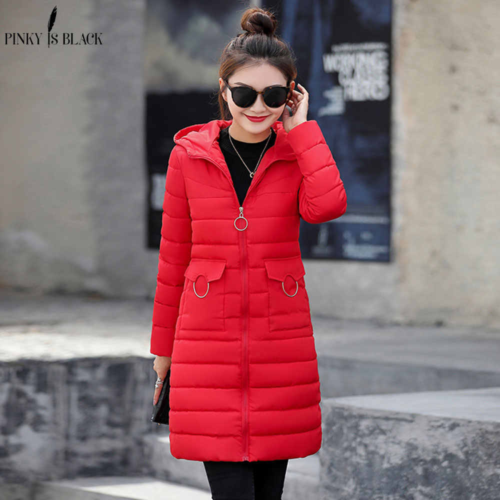 PinkyIsblack 2018 Winter Jacke Neue Mode Frauen Unten jacke Schlank Große größe Mit Kapuze Jacke Student Frauen Dicke Warme Baumwolle Mantel
