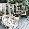 Nordic Style Handmade Knitted Round Hammock Outdoor Indoor Dormitory Bedroom Children Swing Bed Kids Single Chair