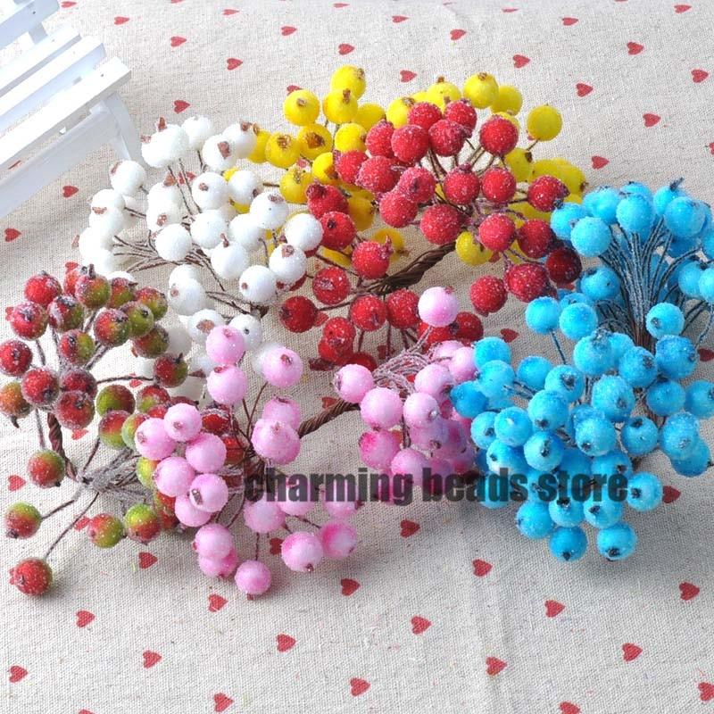 13mm 100 unids/lote Mini Bayas artificiales Estambre de la flor para el hogar Ja