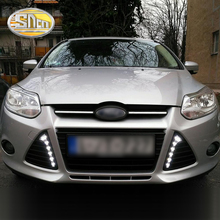 For Ford Focus 3 MK3 2012~2015 Daytime Running Light DRL LED Fog Lamp Cover With Yellow Turning Signal Functions цена в Москве и Питере