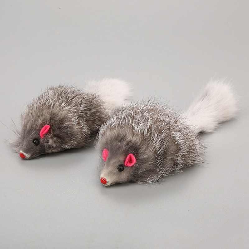 1 pcs 18 cm 고양이 애완 동물 장난감 진짜 모피 고양이 긴 머리 꼬리 깃털 마우스 마우스 토끼 고양이 개 장난감