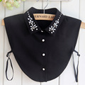 Sweet Diamond crystal pearl Fake Collar Women Cotton Detachable shirt pullover Choker Necklace  Decro shirt lapel Button up  HY