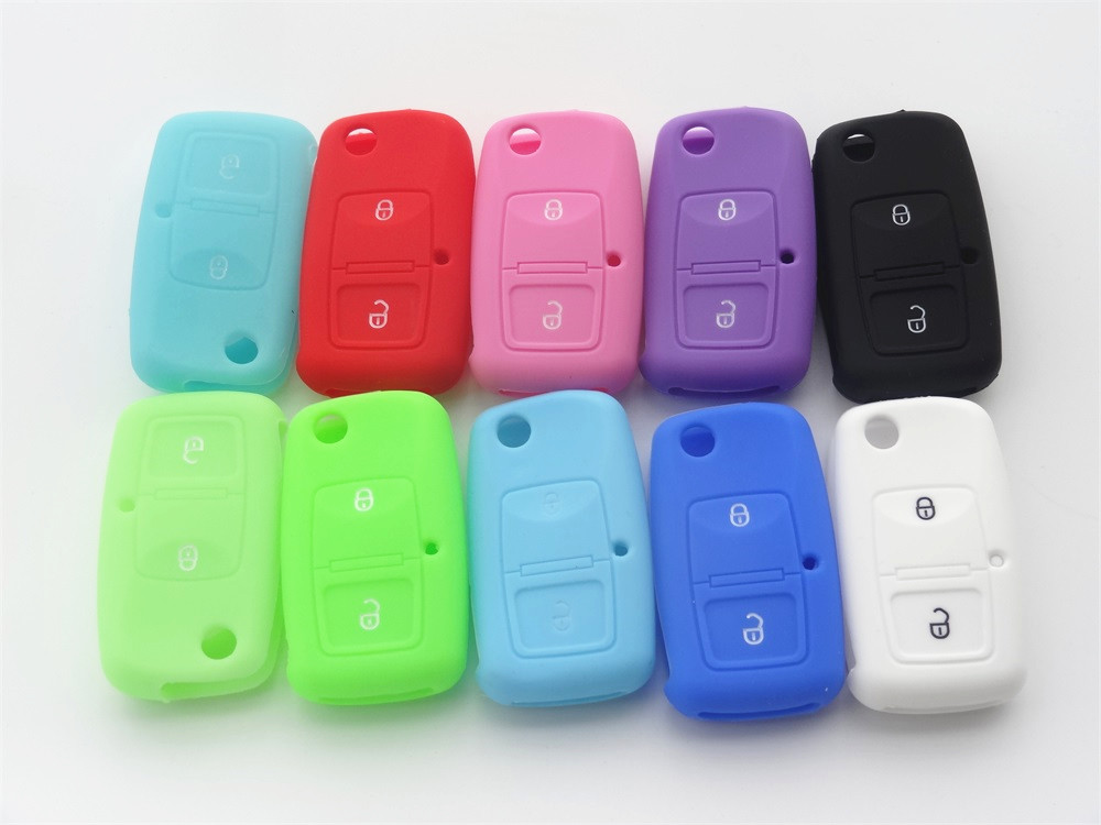 Silicone Car key Cover for Volkswagen VW Passat Polo Golf For SEAT For SKODA Octavia Fabia 2 button 1pc наклейки vw volkswagen passat touran seat ibiza skoda octavia fabia 3