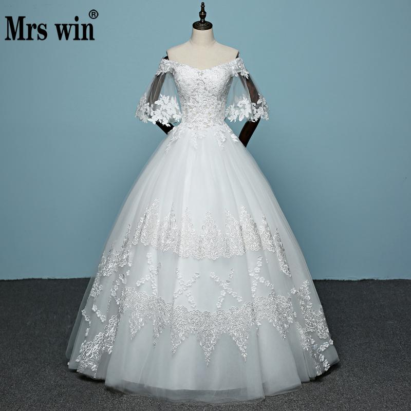 393cf11526e3 Real Photo Korean Lace Boat Neck Off the Shoulder Up Ball Gown Wedding  Dresses 2018New Arrive ...