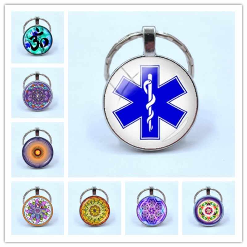 Squisito stella della vita portachiavi Diabetici Medical Alert Dentista Medico distintivo delle donne yoga mandala chiave anello dei monili