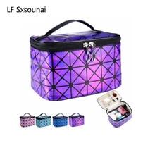 LF Sxsounai PVC 3D Laser Travel Waterproof Storage Bag Women Cosmetic underwear Washing Purple Portable bag Gift Fashion