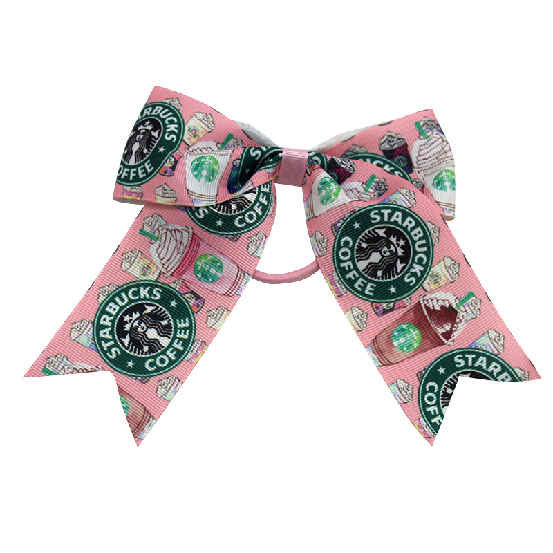 7 inch coffee Bow Cheer Bows Cheerleader Girls Hair Bows With Elastic Hair Rope For Teens Handmade Hair band in Hair Accessories from Mother Kids
