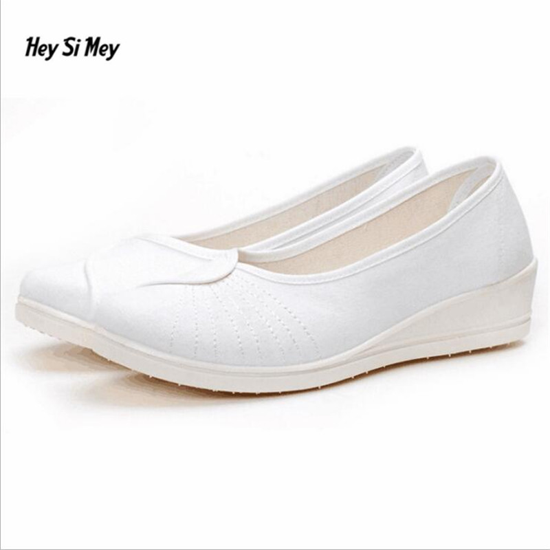 SDTRFT Four season white Nurse shoes Soft-bottom Flats Zapatos Canvas womam shoes Casual Breathable zapatos mujer size:35-39 40 женские кеды n 2015 mujer zapatos sb b004 b002