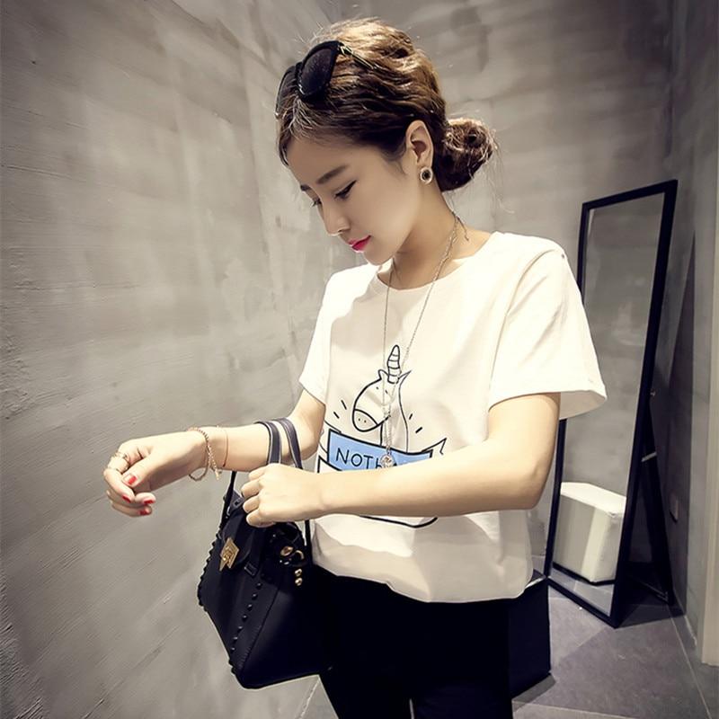 2017 de corea nueva harajuku verano de manga corta camiseta linda de la historieta unicornio camiseta impresa mujeres vetements kawaii estudiante superior