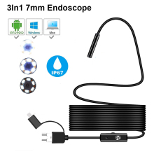 2M 5M 7mm Endoscope Camera Sanke flexible Hard Cable Type C Mircrousb Port Inspection Borescope Camera For PC Android smartphone