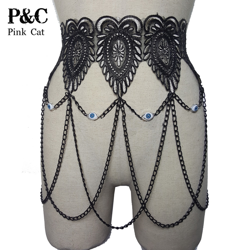Holographic Summer Musical Festival Rave Clothes Outfits Gothic Black Embroidery Baroque Lace Chain Skirt Handmade Vintage Skirt