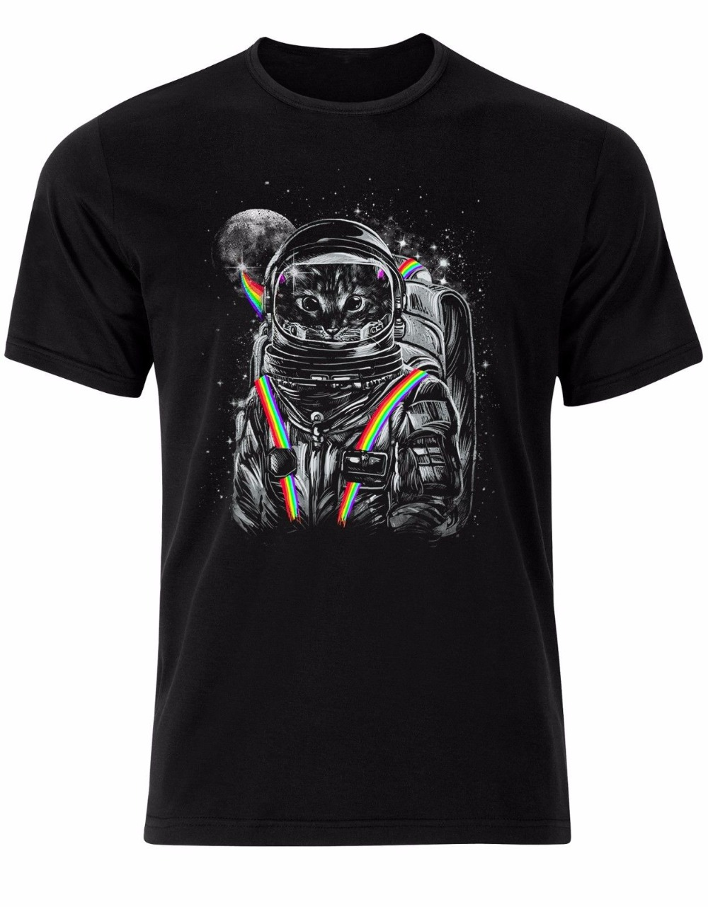 T Shirt Animea Cat In The Space Astronaut Colours Rainbow Moon Kitty Meow Men Tshirt Top Al87 New Brand Casual Clothing